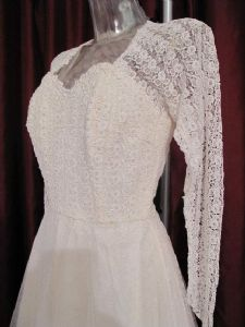 1950's Ballerina length sequinned lace and tulle vintage  wedding gown